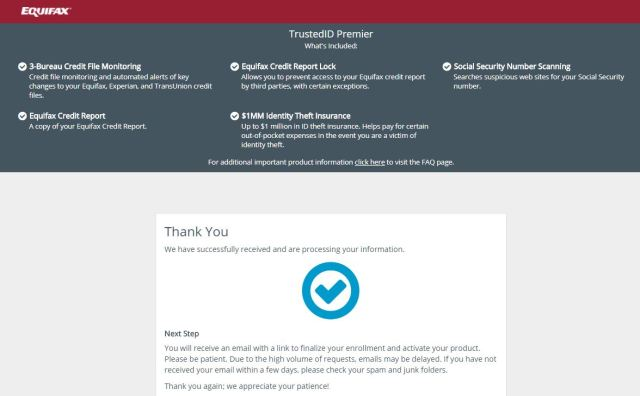 Equifax JS Enrolled in Trusted ID